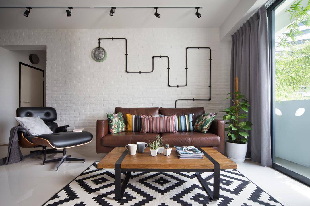 Punggol Walk, Fuse Concept, Scandinavian, Living Room, HDB, Modern Contemporary Living Room, Track Lights, Sling Curtan, Brown Sofa, Lounge Chair, Patterned Rug, Wooden Table, Flora, Jar, Plant, Potted Plant, Pottery, Vase, Chair, Furniture, Home Decor, Linen, Tablecloth