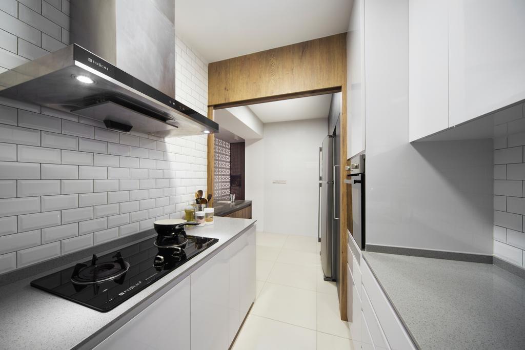 Scandinavian, HDB, Kitchen, Punggol Walk, Interior Designer, Fuse Concept, Modern Contemporary Kitchen, Ceramic Tiles, White Kitchen Cabinet, White Kitchen Cupboard, Recessed Lights, White Laminated Top