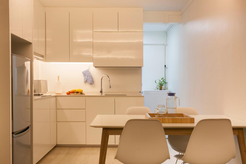 Modern, HDB, Kitchen, Selegie Road, Interior Designer, Voila, Minimalistic, Chair, Furniture, Dining Room, Indoors, Interior Design, Room, Dining Table, Table