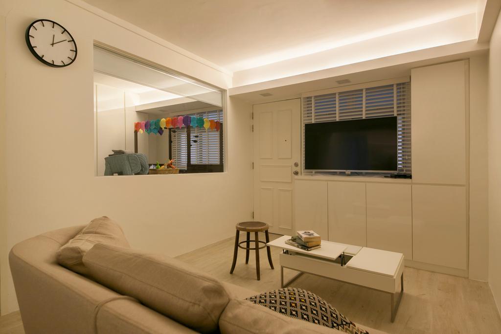 Modern, HDB, Living Room, Selegie Road, Interior Designer, Voila, Minimalistic, Curtain, Home Decor, Window, Window Shade, Indoors, Interior Design, Chair, Furniture