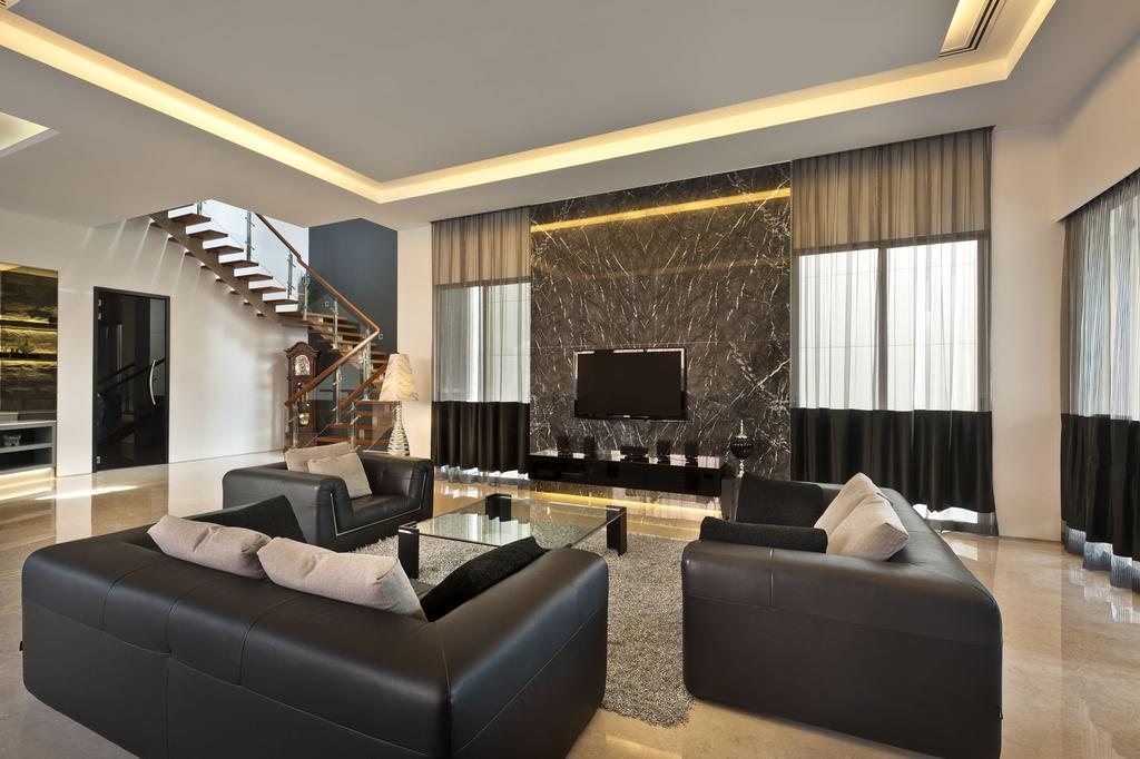 Transitional, Landed, Living Room, Sunbird Circle, Interior Designer, One Design Werkz, Black Sofa, Concealed Lighting, Stairs, Carpet Rug, Feature Wall, Coffee Table