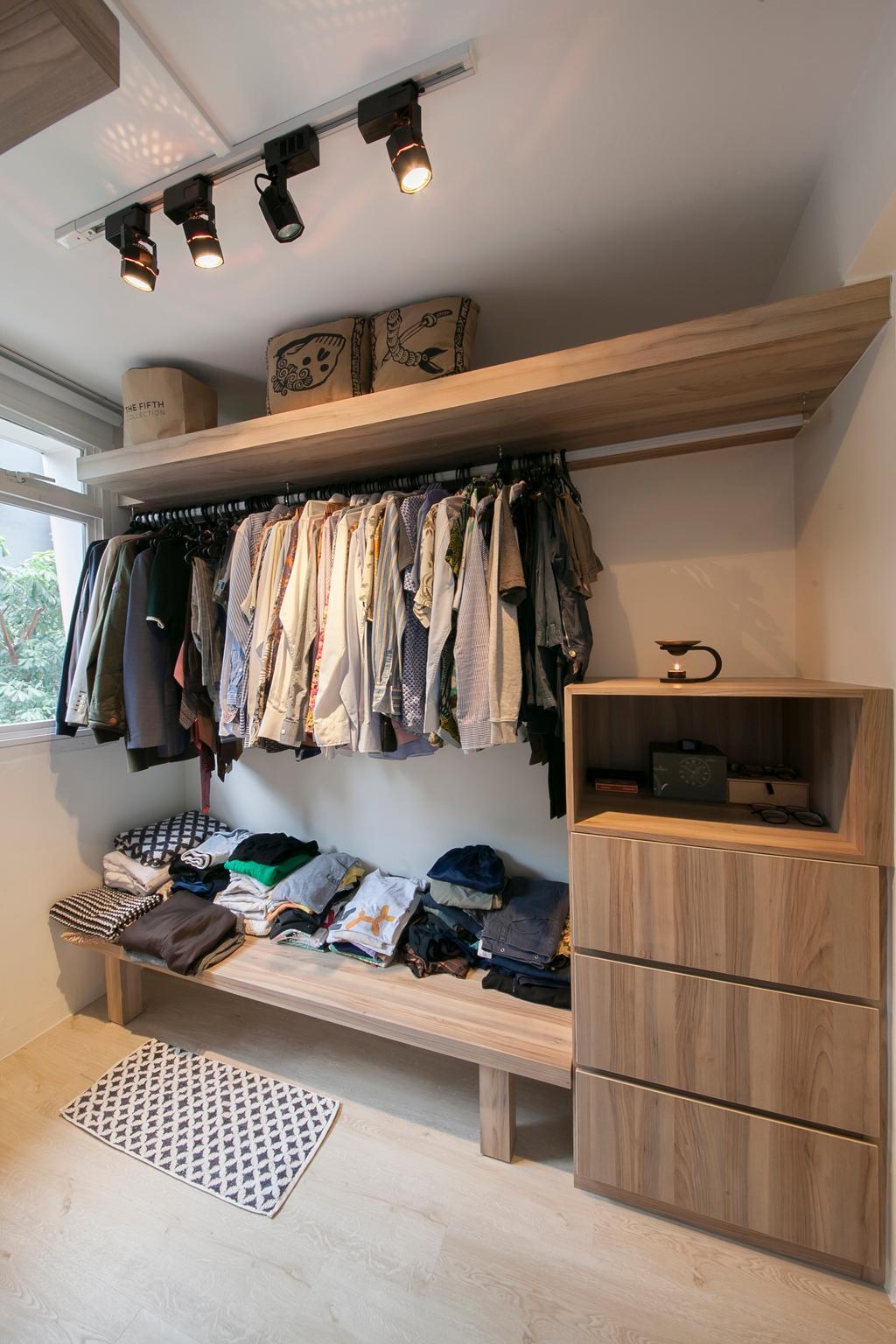 Modern, HDB, Bedroom, Selegie Road, Interior Designer, Voila, Minimalistic, Luggage, Suitcase, Asleep