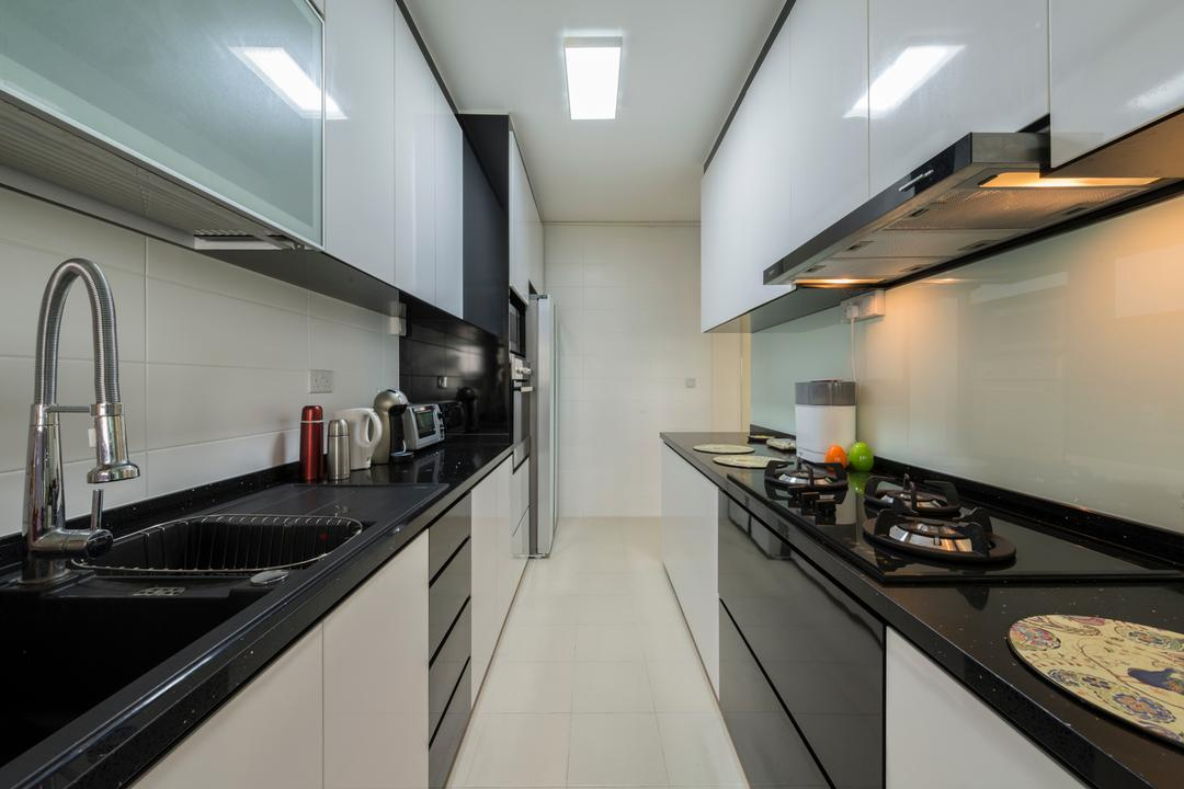 Upper Serangoon View, 9 Creation, Modern, Scandinavian, Kitchen, HDB, Modern Contemporary Kitchen, Ceramic Tiles, White Kitchen Cabinet, White Kitchen Cupboard, Black Kitchen Cabinet, Black Kitchen Cupboard, Black Laminated Top, Ceiling Lights