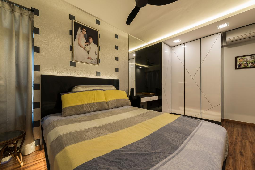 Upper Serangoon View, 9 Creation, Modern, Scandinavian, Bedroom, HDB, Modern Contemporary Bedroom, Wooden Floor, Ceiling Fan, Recessed Lights, Hidden Interior Lighting, Cozy, Cosy, King Size Bed, White Wardrobe, Sling Curtain, Human, People, Person, Bed, Furniture