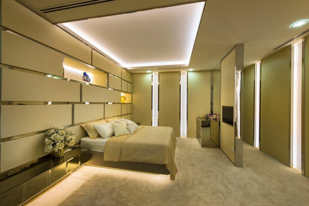 Transitional, Landed, Bedroom, Sunbird Circle, Interior Designer, One Design Werkz, Concealed Lighting, Recessed Lighting, Carpeting, Partition