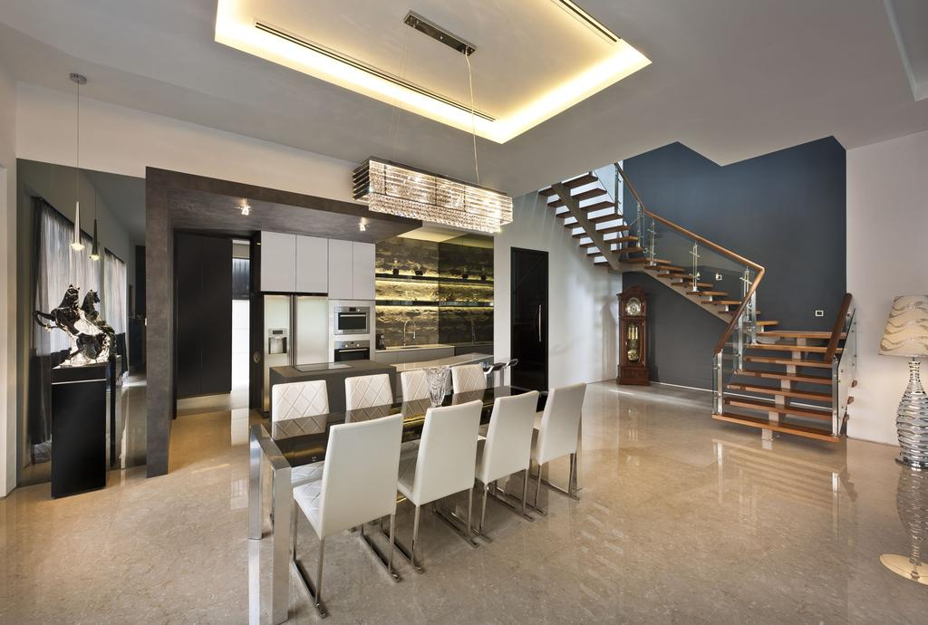 Transitional, Landed, Dining Room, Sunbird Circle, Interior Designer, One Design Werkz, Concealed Lighting, Stairs, Dining Table Chairs, Pendant Lighting