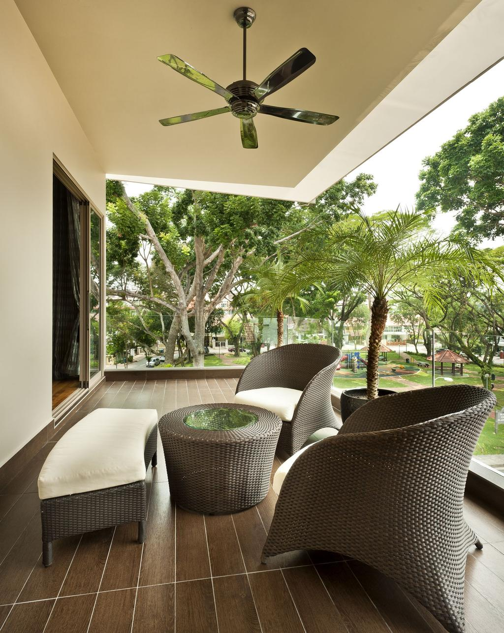 Transitional, Landed, Balcony, Sunbird Circle, Interior Designer, One Design Werkz, Ceiling Fan, Wooden Flooring, Outdoor Chairs, Round Coffee Table, Cushioned Chair