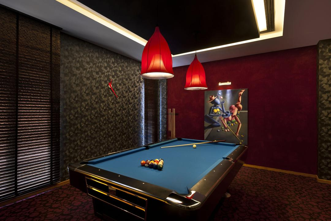 Sunbird Circle, One Design Werkz, Transitional, Landed, Pool, Pendant Lighting, Concealed Lighting, Pool Table, Carpeting, Dim Lighting