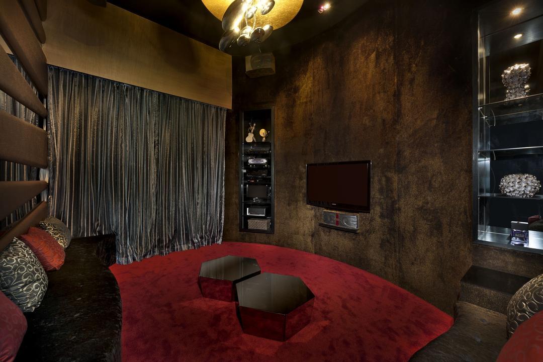 Sunbird Circle, One Design Werkz, Transitional, Bedroom, Landed, Pendant Lighting, Dim Lighting, Dark Room, Display Shelf, Wall Mounted Tv, Curtains, Grey Curtains