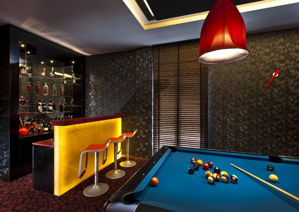 Transitional, Landed, Sunbird Circle, Interior Designer, One Design Werkz, Yellow Concealed Lighting, Red High Chair, Pendant Lighting, Pool Table, Wallpaper, Display Showcase