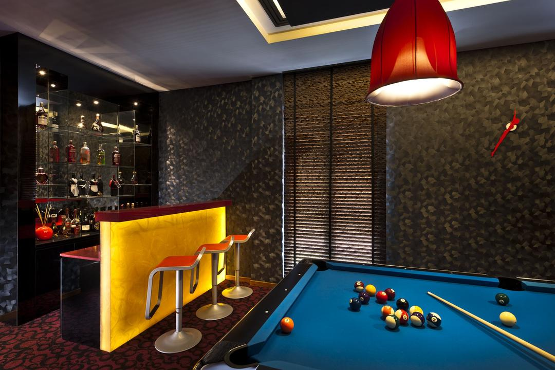 Sunbird Circle, One Design Werkz, Transitional, Landed, Yellow Concealed Lighting, Red High Chair, Pendant Lighting, Pool Table, Wallpaper, Display Showcase