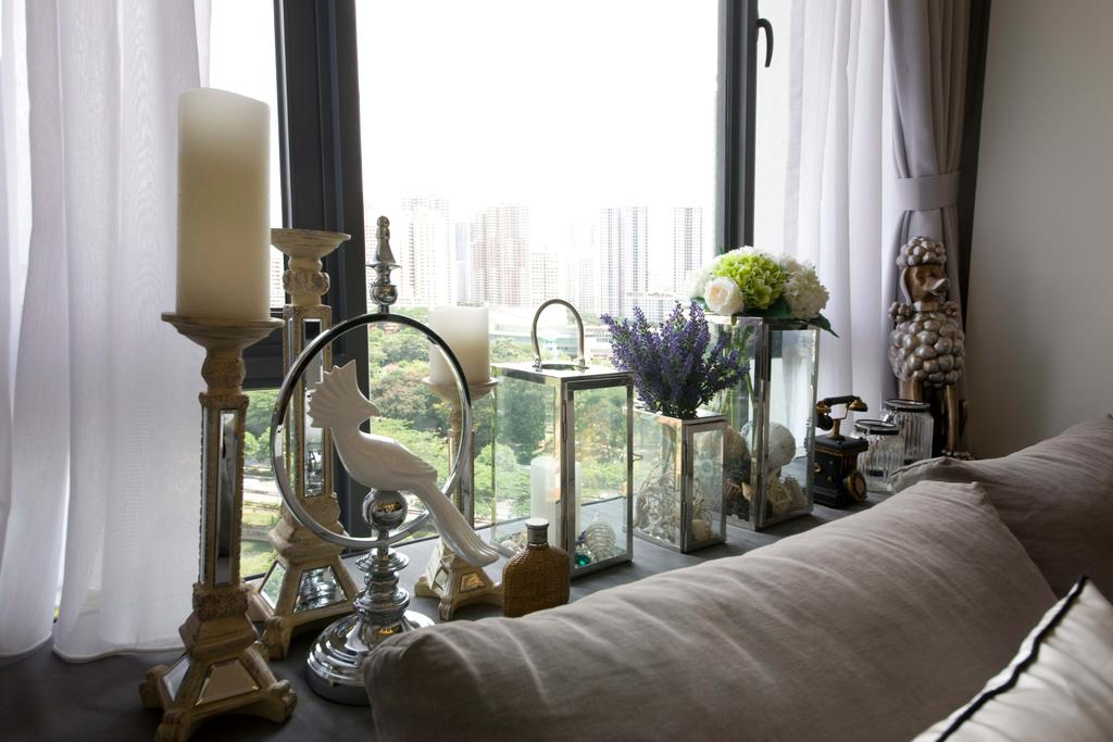 Contemporary, Condo, Living Room, Casa Fortuna (Ah Hood Road), Interior Designer, Space Define Interior, Curtains, Bay Window Bench, Decor, Bay Window, Bench, Candle Holder, Accessories, Flowers, Flora, Jar, Plant, Potted Plant, Pottery, Vase, Chair, Furniture