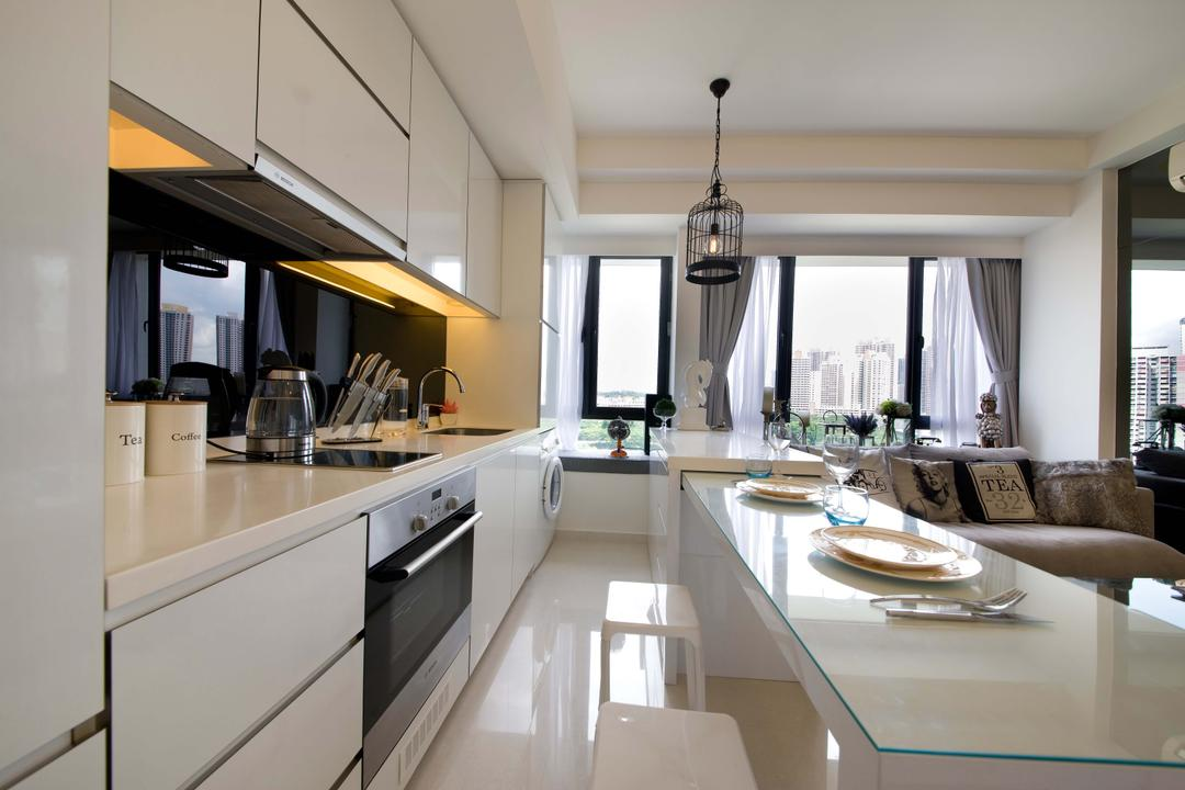 Casa Fortuna (Ah Hood Road), Space Define Interior, Contemporary, Kitchen, Condo, Pendant Lighting, Birdcage, Pendant Lamp, Retractable Table, Dining Table, Glass Table Top, White Cabinets, White Drawers, Indoors, Interior Design, Dining Room, Room, Bathroom, Dish, Food, Meal, Plate