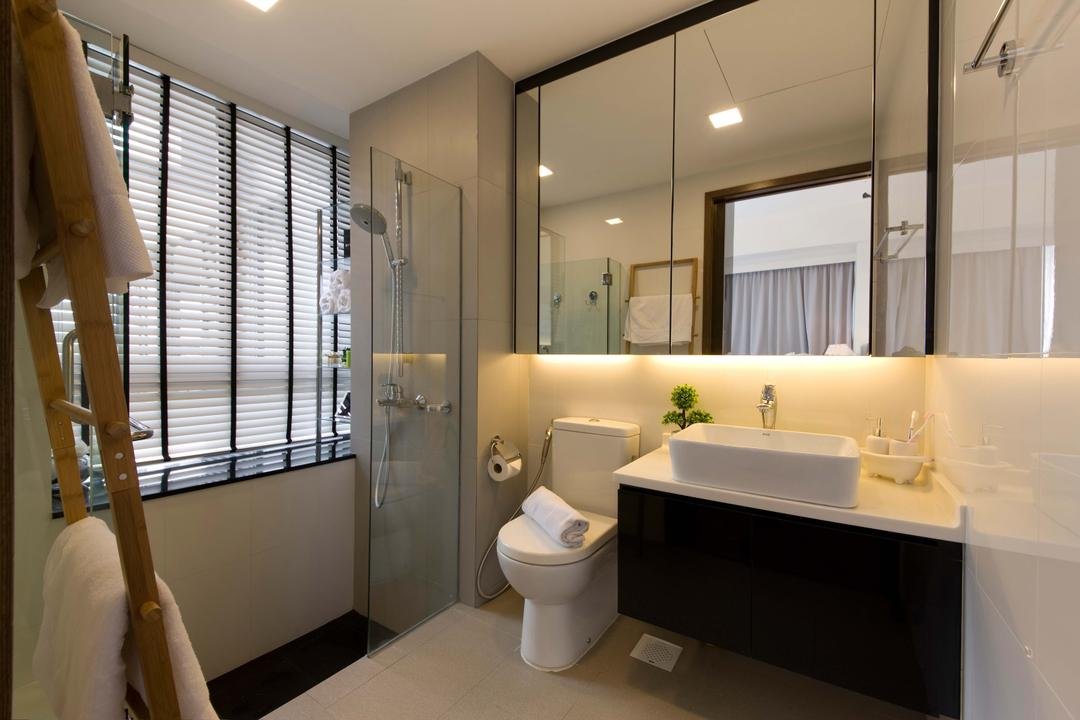 Casa Fortuna (Ah Hood Road), Space Define Interior, Contemporary, Bathroom, Condo, Mirror, Mirror Cabinet, Black Cabinet, White Sink Top, White Basin, Glass Shower Door, Blinds, Towel Rack, Indoors, Interior Design, Room