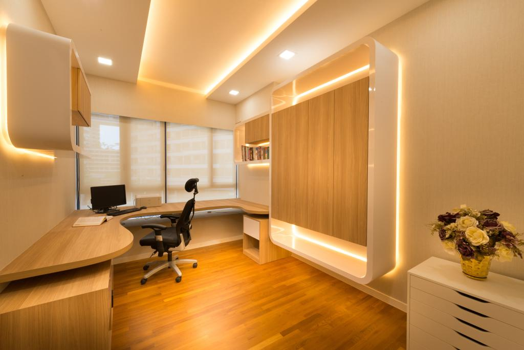 Modern, Condo, Study, The Interlace, Interior Designer, One Design Werkz, Concealed Lighting, Recessed Lighting, White Drawer, Feature Wall, Laminate Wall, Laminate Flooring, Blinds, Wall Mounted Shelf, Open Shelf, Curve Table, Study Desk, Study Chair, Swivel Chair