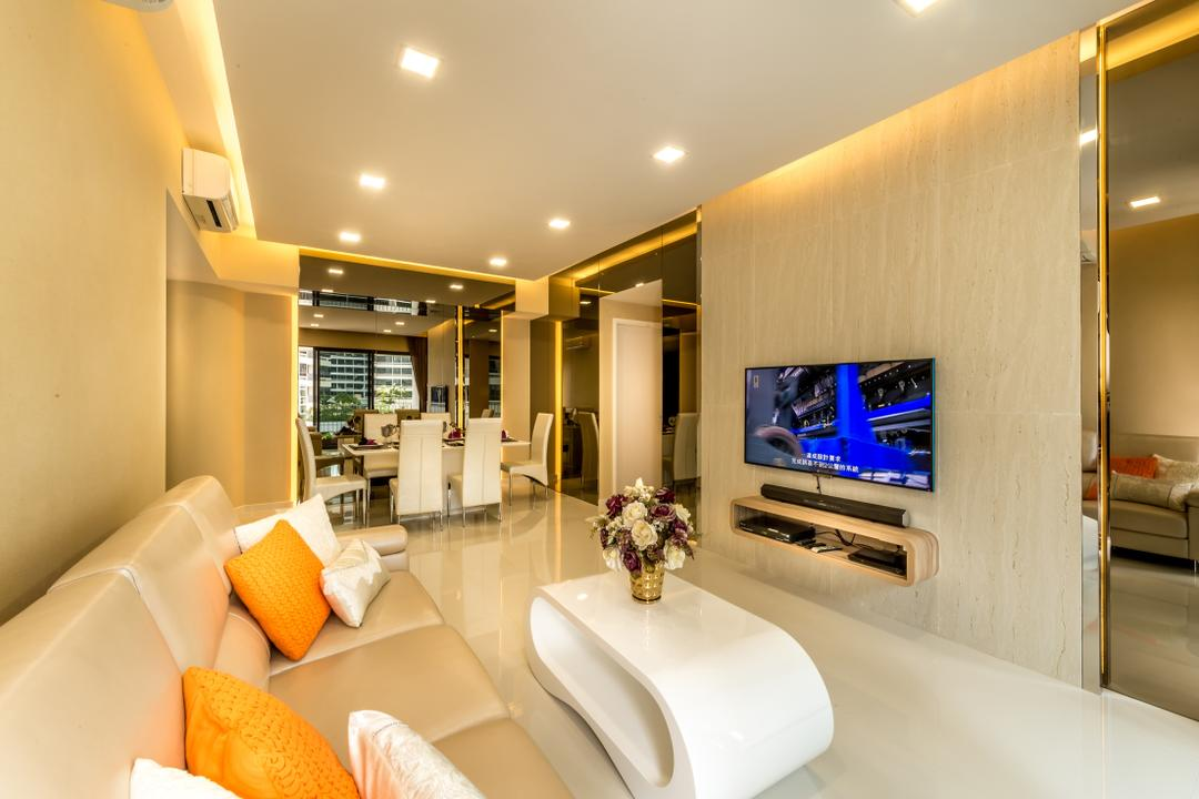 The Interlace, One Design Werkz, Modern, Living Room, Condo, Concealed Lighting, Mirror, White Coffee Table, Recessed Lighting, Sofa, Orange Cushion, Wall Mounted Tv Console, Flatscreen Tv, Tinted Mirror