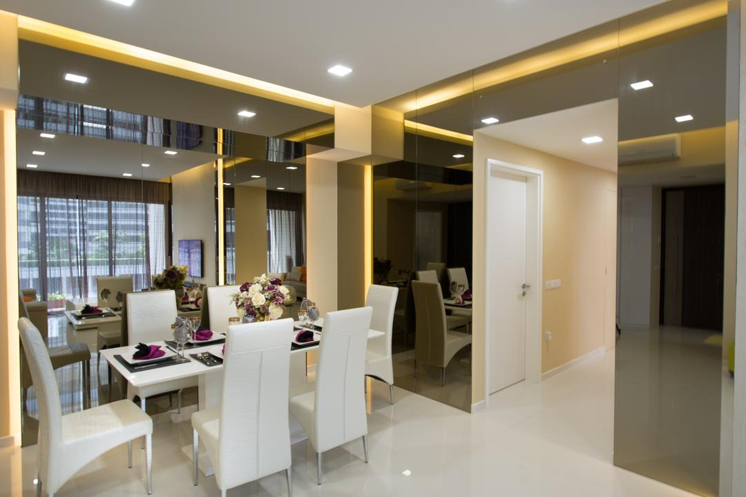 The Interlace, One Design Werkz, Modern, Dining Room, Condo, Recessed Lighting, Concealed Lighting, Tinted Mirror, Mirror, Dining Table And Chairs, White Chairs