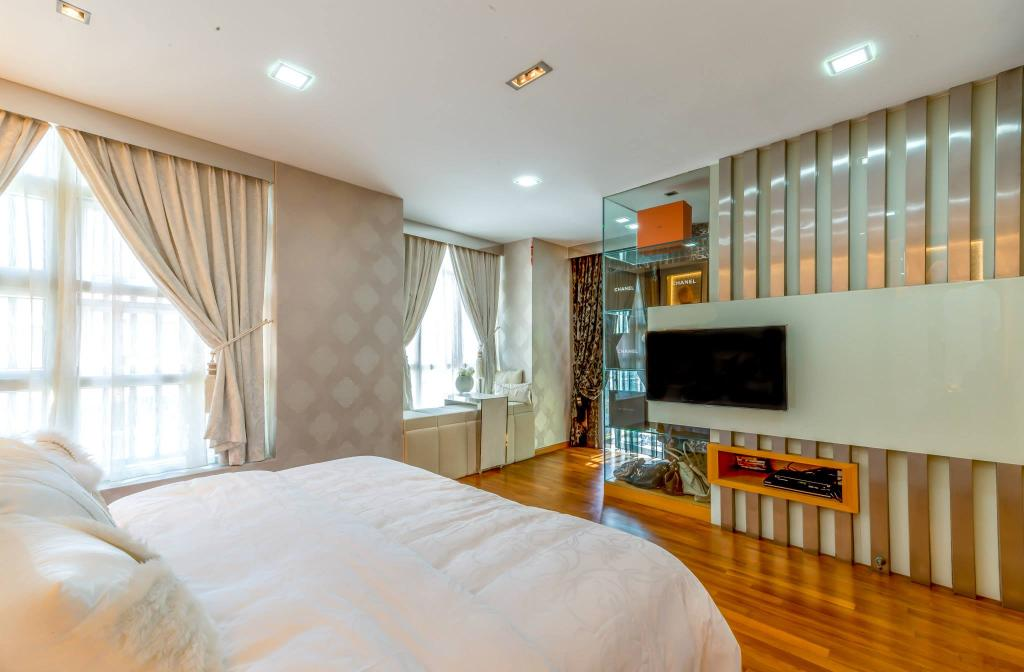 Transitional, Landed, Bedroom, Jalan Daud, Interior Designer, One Design Werkz, Wooden Flooring, Laminate Flooring, Feature Wall, Mirror, Double Layer Curtains, Wallpaper, Recessed Lighting