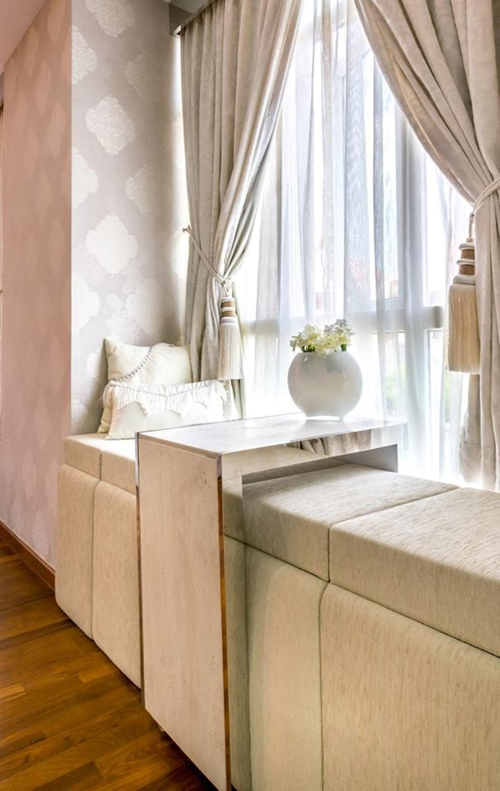 Transitional, Landed, Bedroom, Jalan Daud, Interior Designer, One Design Werkz, Wallpaper, Double Layer Curtains, Cushioned Bay Window Seats