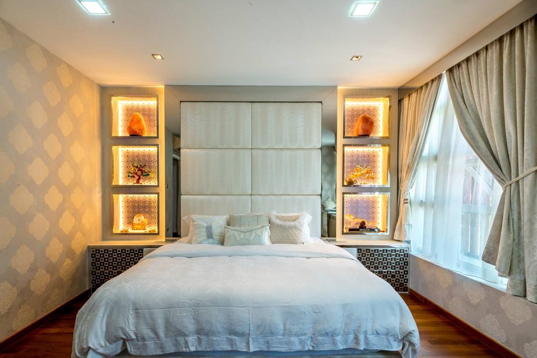 Jalan Daud, One Design Werkz, Transitional, Bedroom, Landed, Recessed Lighting, Concealed Lighting, Display Open Shelf, High Headboard, Cushioned Headboard, Wallpaper, Double Layer Curtains, Wood Flooring