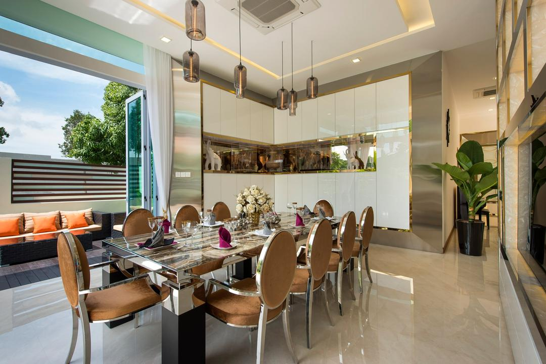 Loyang Place, One Design Werkz, Traditional, Dining Room, Landed, Pendent Lighting, Concealed Lighting, Potted Plant, Display Shelf, Dining Table And Chairs