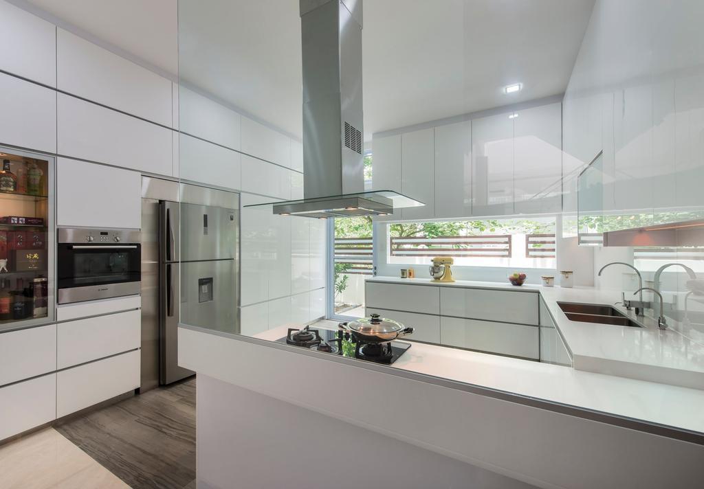 Traditional, Landed, Kitchen, Loyang Place, Interior Designer, One Design Werkz, White Cabinets, White Shelves, Kitchen Gas Hood, White Theme, Neutral Palette