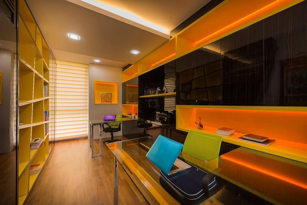 Loyang Place, One Design Werkz, Traditional, Study, Landed, Study Desk And Chairs, Orange Concealed Lighting, Recessed Lighitng, Concealed Lighting, Open Shelf, Laminate Flooring