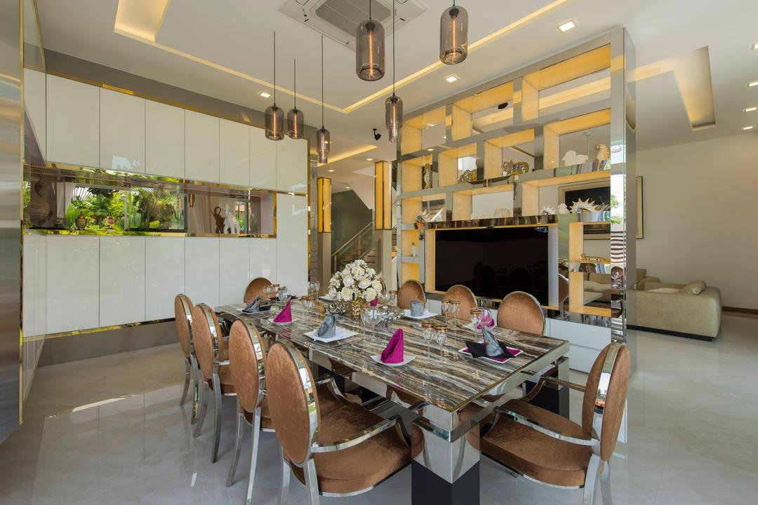 Loyang Place, One Design Werkz, Traditional, Dining Room, Landed, Pendent Lighting, Dining Table And Chairs, White Cabinets, Display Shelf
