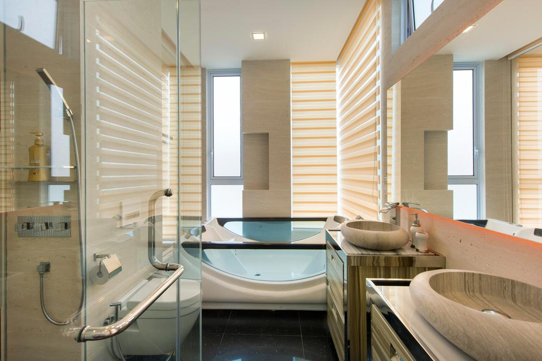 Loyang Place, One Design Werkz, Traditional, Bathroom, Landed, Glass Shower Door, Wall Mounted Toilet Bowl, Round Basin, Mirro