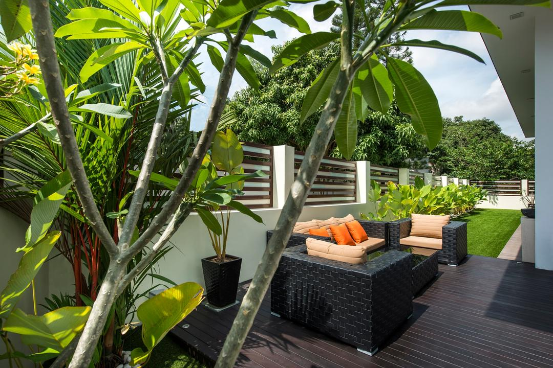 Loyang Place, One Design Werkz, Traditional, Balcony, Landed, Potted Plants, Wooden Flooring, Grass Rug, Black Outdoor Seats, Cushions