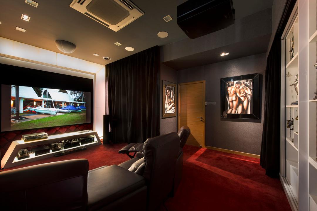 105 Changi Road, One Design Werkz, Modern, Landed, Guestroom, Movie Room, Air Con, Indoor Sound System, Red Carpeting, Open Shelf, Portrait, Wallart, Heavy Curtains