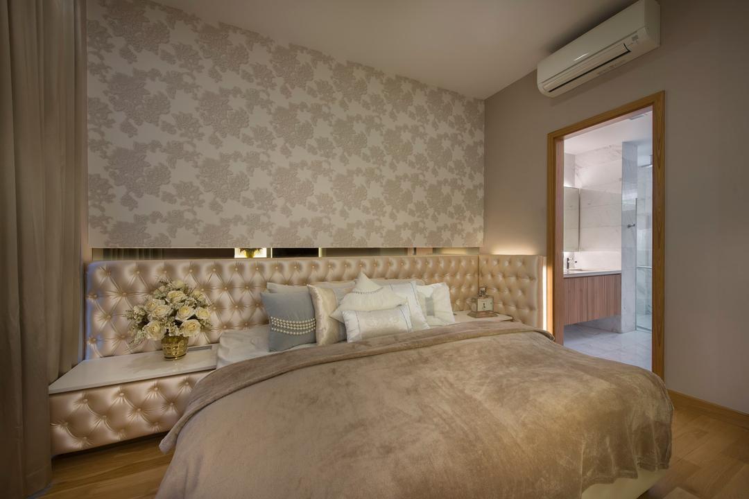 105 Changi Road, One Design Werkz, Modern, Bedroom, Landed, Wallpaper, Wooden Flooring, Laminate Flooring, Cushioned Headboard, Bedside Table, Classical, Vintage, English