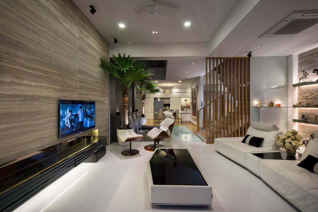 105 Changi Road, One Design Werkz, Modern, Living Room, Landed, Laminate Wall, White Sofa, Armless Swivel Chair, Wall Mount Tv Console, Flatscreen Tv, Recessed Lighting, Potted Plant, Black Coffee Table, Wooden Beam, Partition