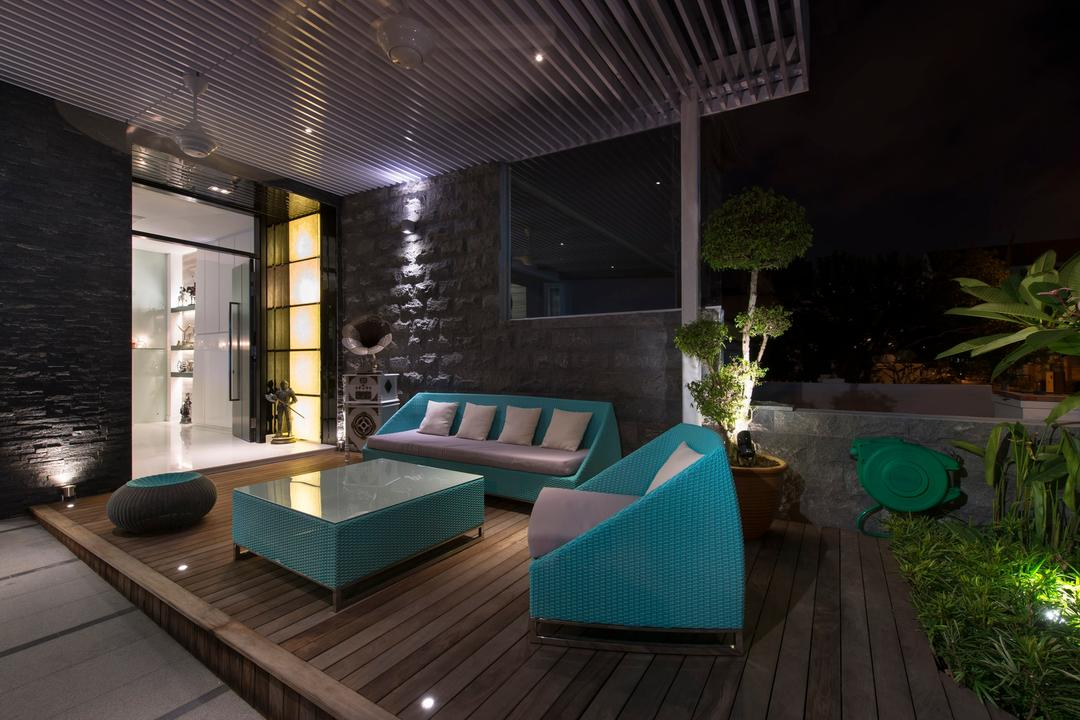 105 Changi Road, One Design Werkz, Modern, Balcony, Landed, Wooden Flooring, Baby Blue Table, Outdoor Shelter, Baby Blue, Outdoor Chairs, Shelter, Patio, Outdoor Seating