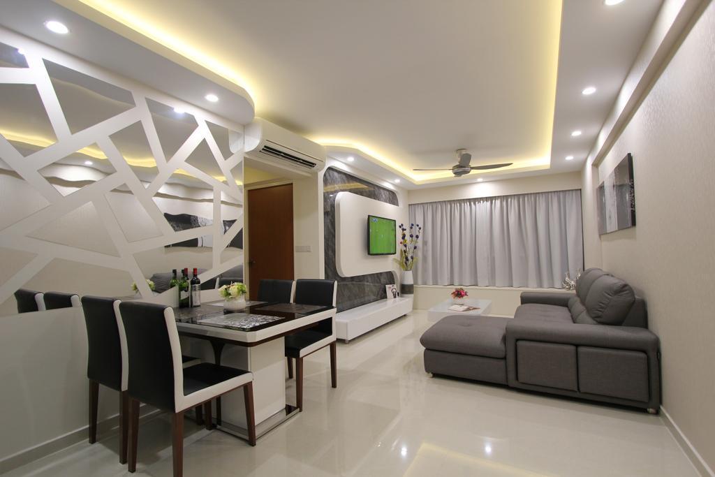 Modern, HDB, Living Room, Punggol (Block 261A), Interior Designer, Beaux Monde, Dining Table, Furniture, Table, Indoors, Interior Design, Room