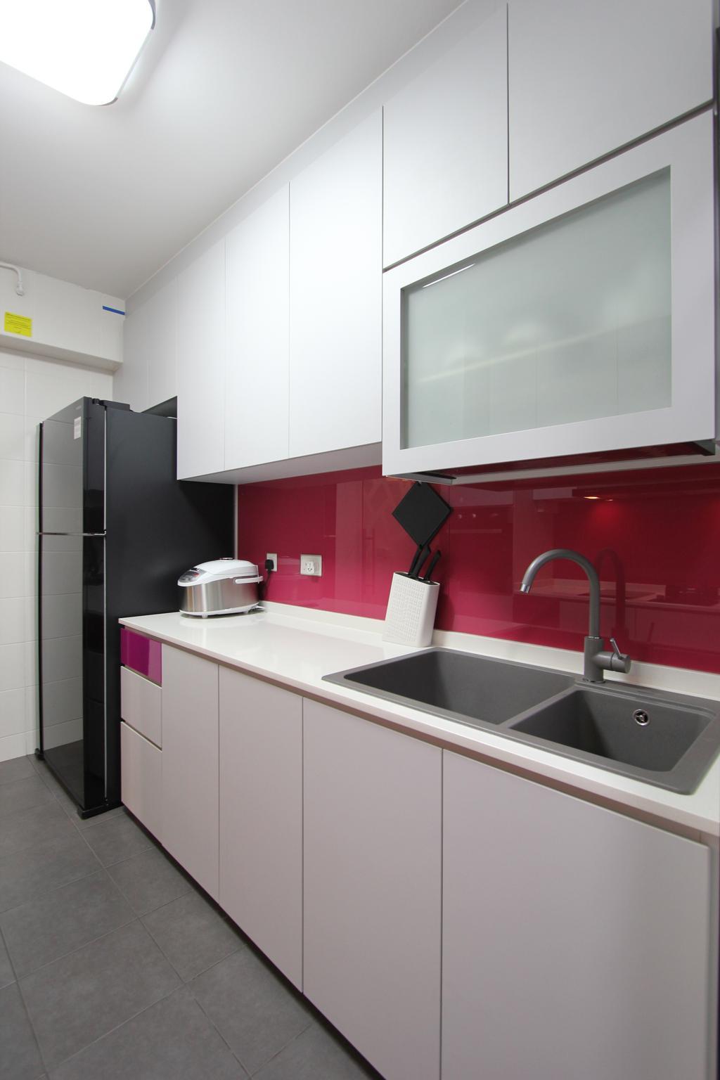 Modern, HDB, Kitchen, Punggol (Block 261A), Interior Designer, Beaux Monde, Indoors, Interior Design, Room, Sink