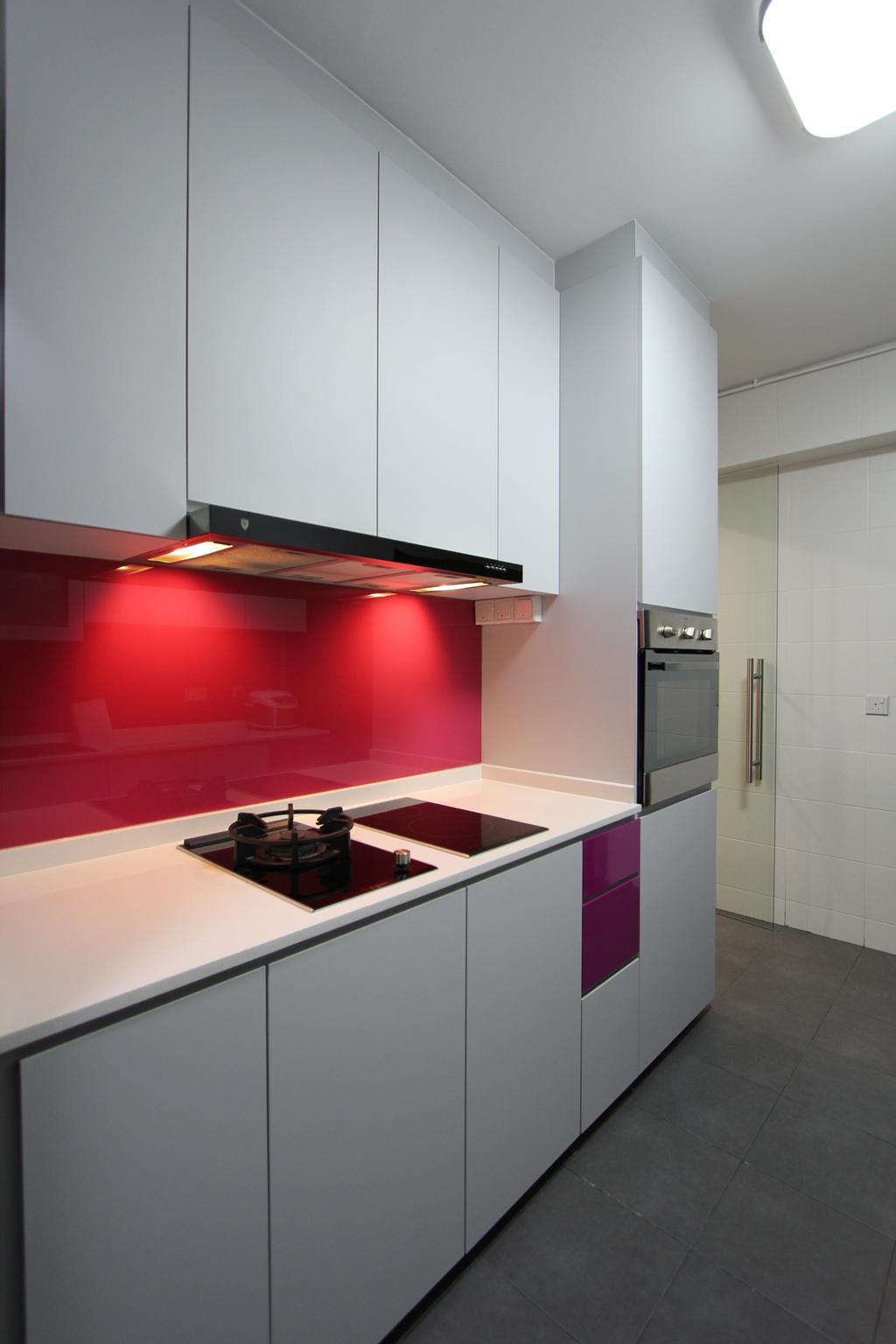 Modern, HDB, Kitchen, Punggol (Block 261A), Interior Designer, Beaux Monde, Indoors, Interior Design, Room, Building, Housing, Loft
