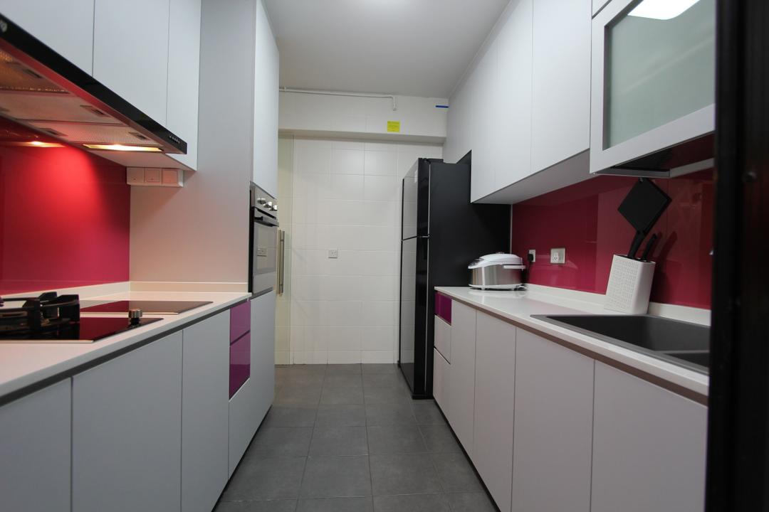 Punggol (Block 261A), Beaux Monde, Modern, Kitchen, HDB, Modern Contemporary Kitchen, White Kitchen Cabinet, White Kitchen Cupboard, White Laminated Top, Cement Floor, Built In Oven