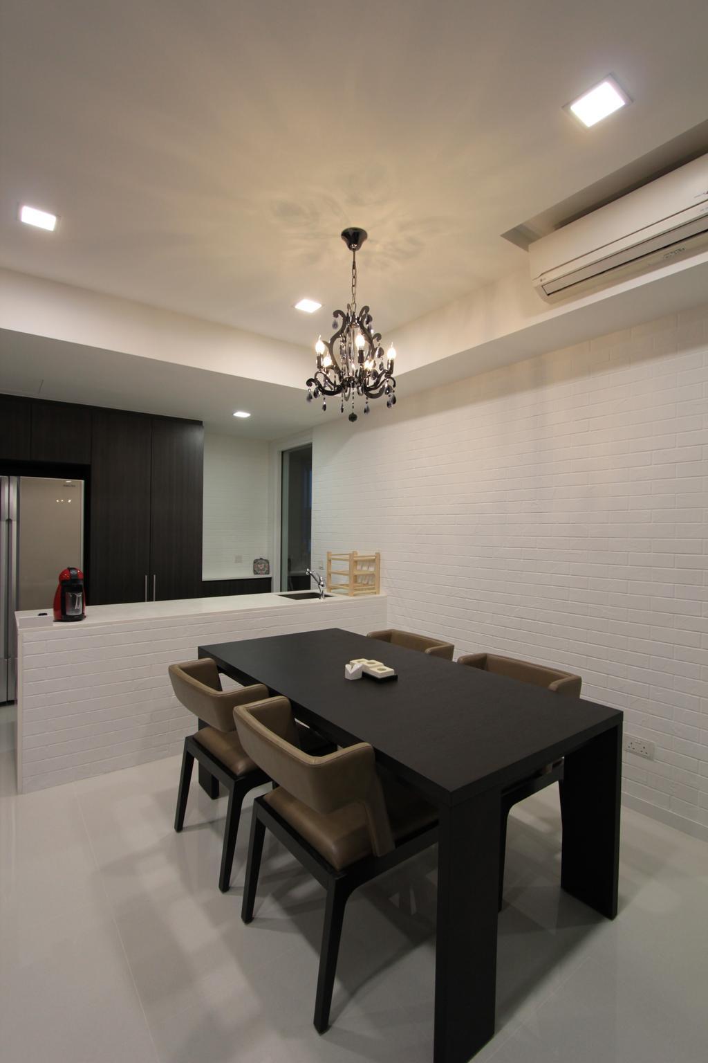 Contemporary, Condo, Dining Room, Ferrera Park, Interior Designer, Beaux Monde, Chandelier, Lamp, Indoors, Interior Design, Room