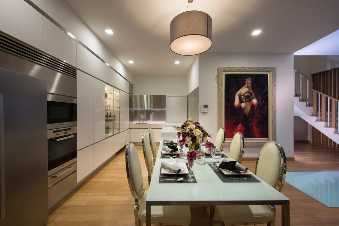 105 Changi Road, One Design Werkz, Modern, Dining Room, Landed, Pendant Lighting, Wall Portrait, Recessed Lighting, Wooden Flooring, Dining Table And Chairs, Long Table, Neutral Palette