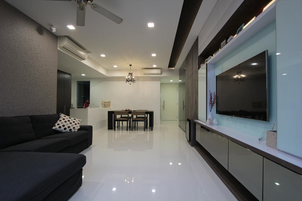 Contemporary, Condo, Living Room, Ferrera Park, Interior Designer, Beaux Monde, Modern Contemporary Living Room, Recessed Lights, Sectional Sofa, Ceiling Fan, Television Console, Wall Mounted Television, Spacious, Dining Table, Furniture, Table
