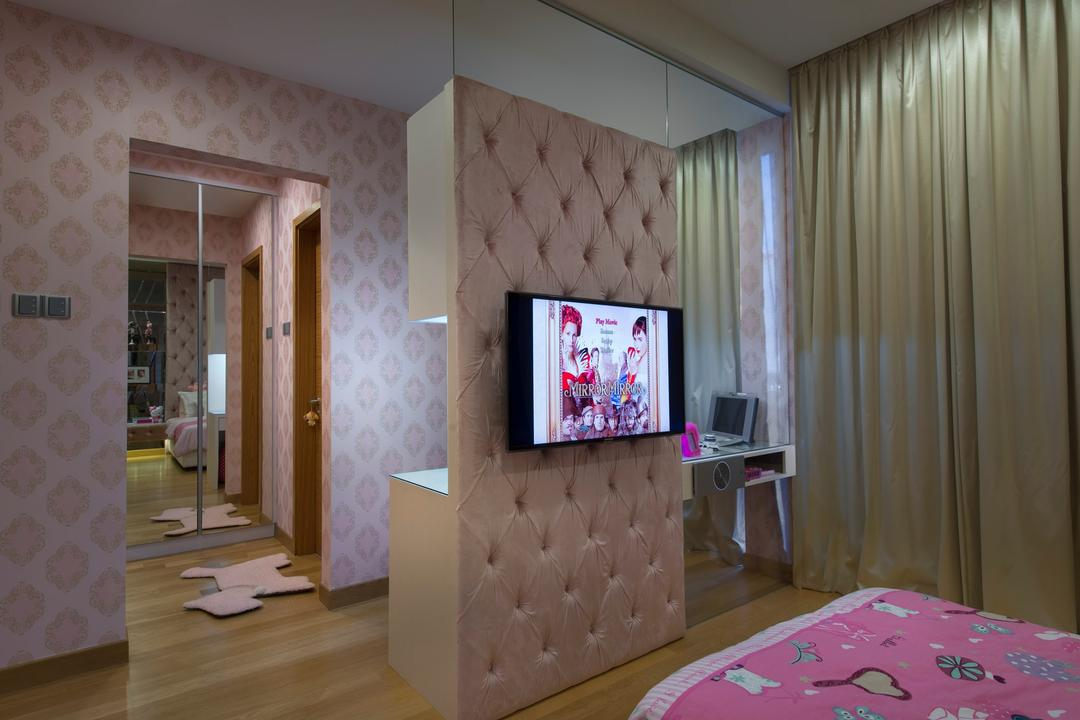 105 Changi Road, One Design Werkz, Modern, Bedroom, Landed, Cushioned Partition, Wallpaper, Curtains, Wooden Flooring, Flatscreen Tv Wall Mounted