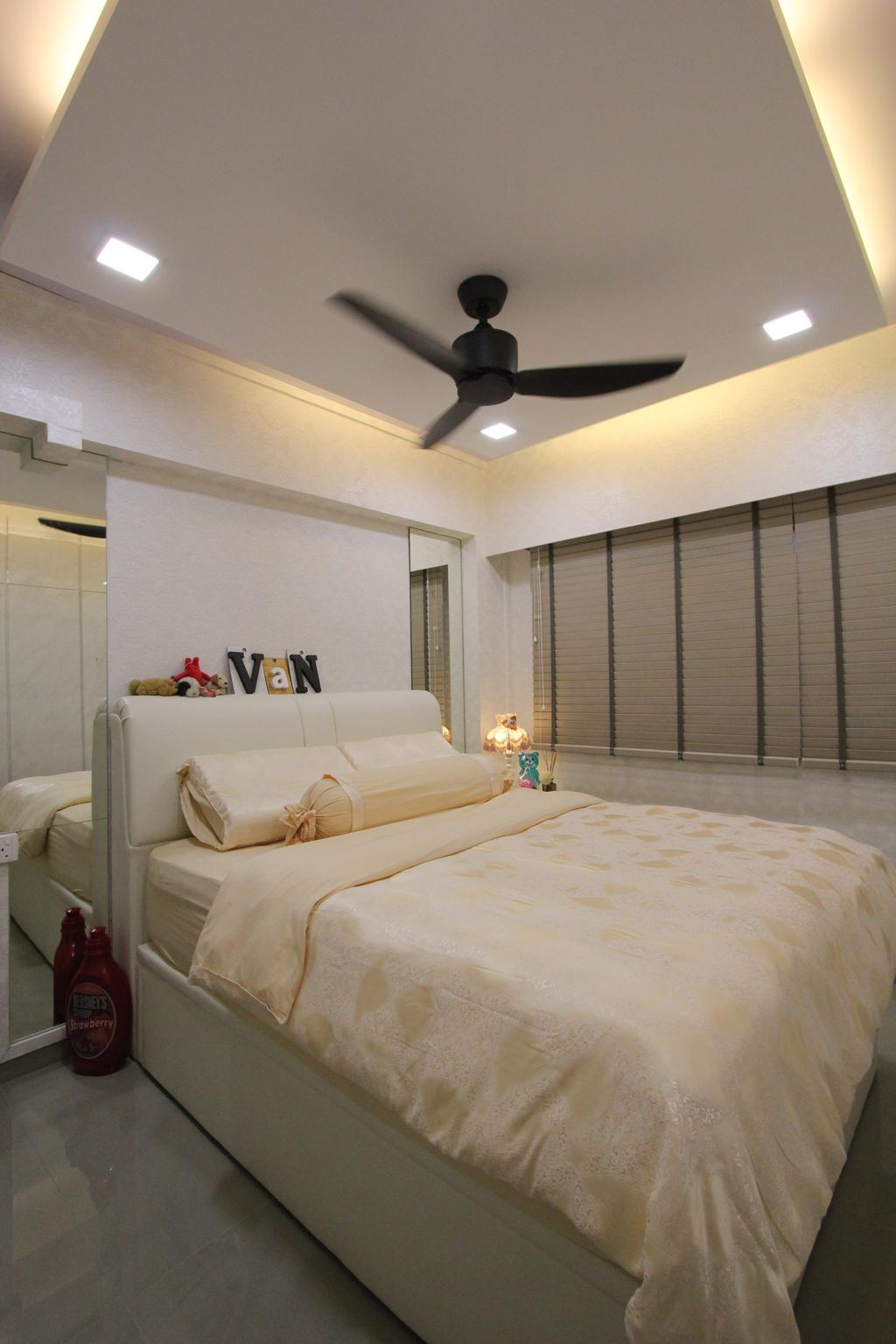 Contemporary, HDB, Bedroom, Hougang Street 51, Interior Designer, Beaux Monde, Ceiling Fan, Modern Contemporary Bedroom, Cozy, Cosy, Recessed Lights, Hidden Interior Lighting, Wooden Bedding Platform, Wooden Bedding Panel, Bed, Furniture, Couch, Toilet