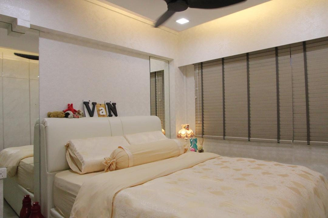 Hougang Street 51, Beaux Monde, Contemporary, Bedroom, HDB, Ceiling Fan, Modern Contemporary Bedroom, Cozy, Cosy, Recessed Lights, Hidden Interior Lighting, Wooden Bedding Platform, Wooden Bedding Panel, Bed, Furniture, Couch, Toilet