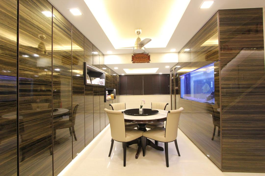 Hougang Street 51, Beaux Monde, Contemporary, Dining Room, HDB, Modern Contemporary Dining Room, Coffered Ceiling, Recessed Lights, Hidden Interior Lighting, Round Dining Table, Dining Chair, Built In Shelf, Dining Table, Furniture, Table, Sink, Indoors, Interior Design