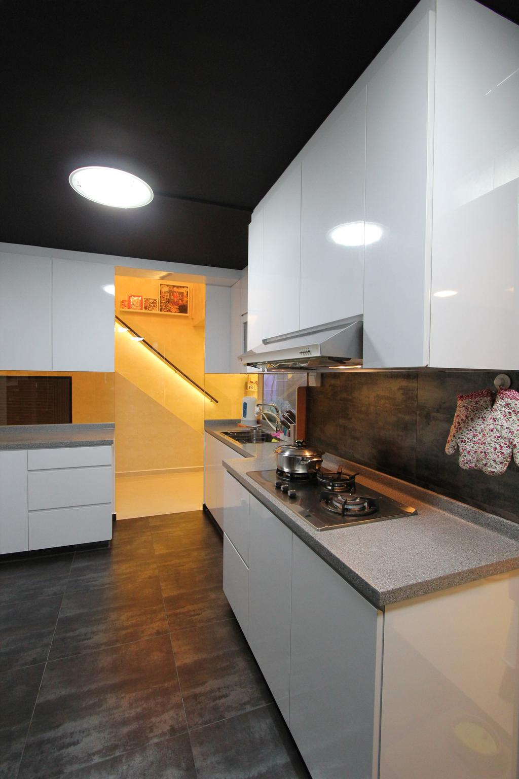 Contemporary, HDB, Kitchen, Hougang Street 51, Interior Designer, Beaux Monde, Appliance, Electrical Device, Oven, Door, Sliding Door