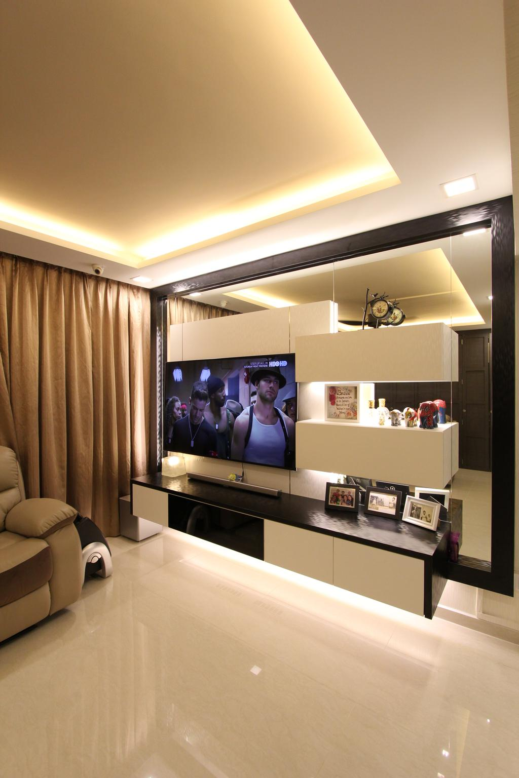 Contemporary, HDB, Living Room, Hougang Street 51, Interior Designer, Beaux Monde, Electronics, Entertainment Center, Home Theater