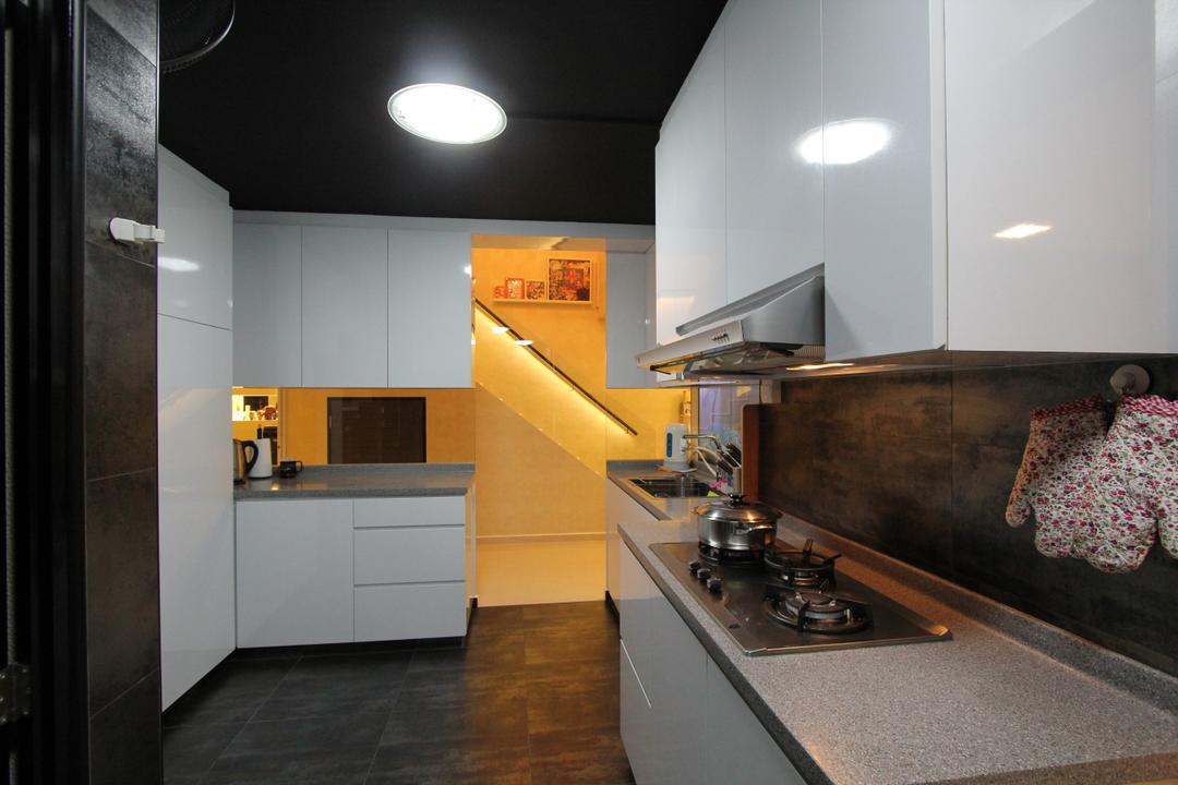 Hougang Street 51, Beaux Monde, Contemporary, Kitchen, HDB, Modern Contemporary Kitchen, Ceiling Light, Recessed Light, White Kitchen Cabinet, , White Kitchen Cupboard, White Laminated Top, Ceramic Tiles, Appliance, Electrical Device, Oven, Lighting