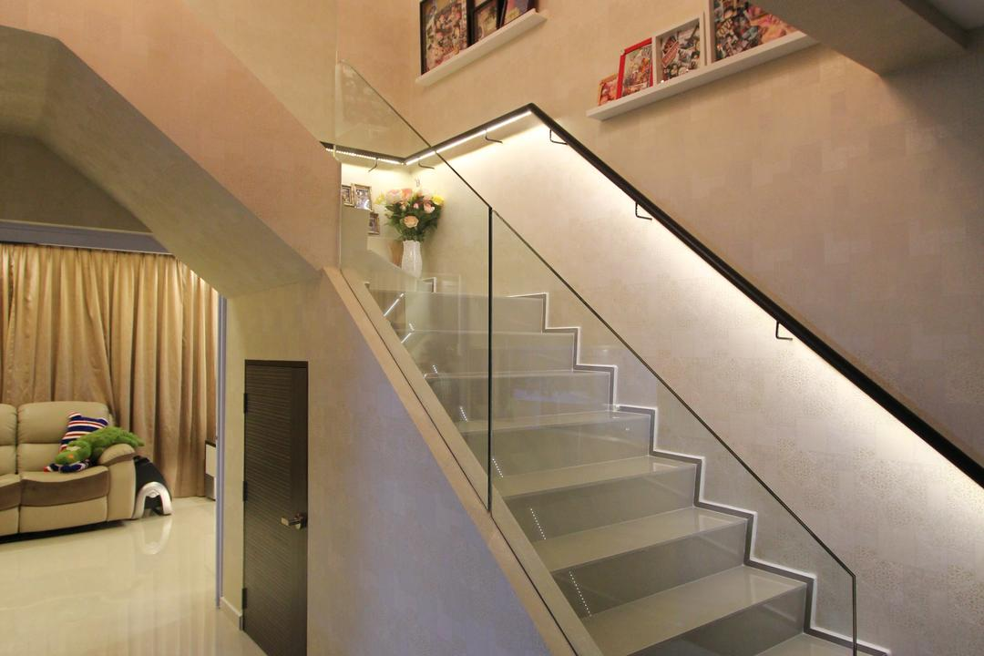 Hougang Street 51, Beaux Monde, Contemporary, Living Room, HDB, Stairs, Stairway, Staircase, Steps, Couch, Furniture