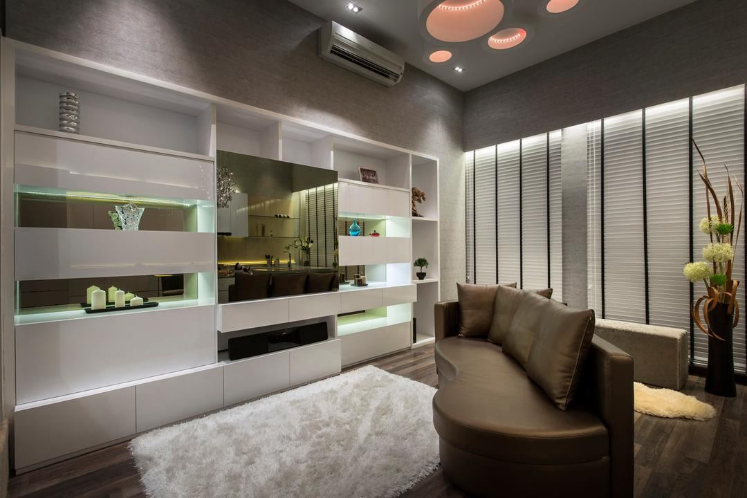 Beaux Monde Show Room (Joo Chiat), Beaux Monde, Modern, Living Room, Commercial, Modern Contemporary Living Room, Wall Mounted Shelves, White Rug, Wall Mounted Television, Television Console, Roll Down Curtain, Hidden Interior Lighting, Wooden Floor, Couch, Furniture, Indoors, Interior Design